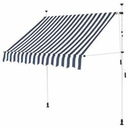 6.5FT Manual Patio Awning Retractable Canopy Cover Deck Door