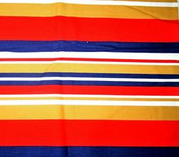 Gold Red Blue White Striped Awning Cotton Quilting Fabric Pi