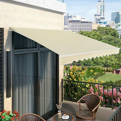 12'×10' Patio Awning Aluminum Shelter Outdoor Beige