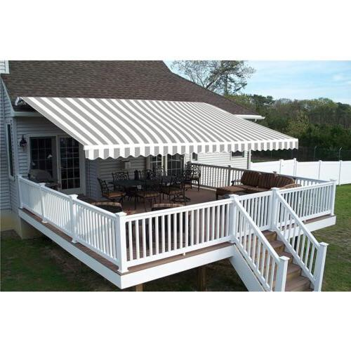 outdoor grey white striped pattern 12x10ft retractable