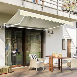 Large Outside Patio Sun Shade Awning w/ Electronic Remote Co