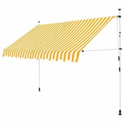 """Manual Retractable Awning 118.1"""" Yellow and White Stripes"""