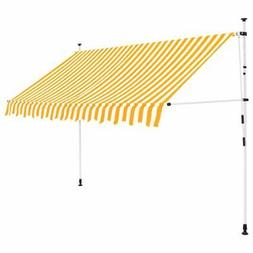 """vidaXL Manual Retractable Awning 118.1"""" Yellow and White Str"""
