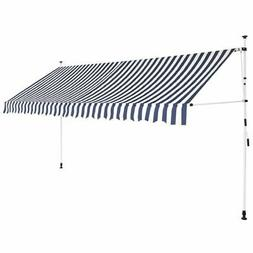 """vidaXL Manual Retractable Awning 137.8"""" Blue and White Strip"""