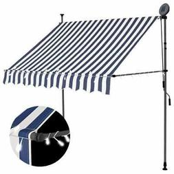 """vidaXL Manual Retractable Awning with LED 78.7"""" Blue White S"""