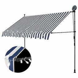 "vidaXL Manual Retractable Awning with LED 98.4"" Blue White S"