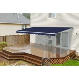 ALEKO Motorized Retractable Patio Awning 16 X 10 Ft Blue Col