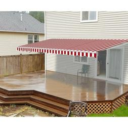 ALEKO Motorized Retractable Patio Awning 20 X 10 Ft Red and