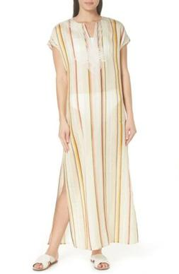 NEW Tory Burch Awning Stripe Caftan In Canyon Stripe/Natural