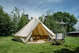 Outdoor 3/4/5/6/7M Canvas Bell Tent Glamping Camping Tent Fa