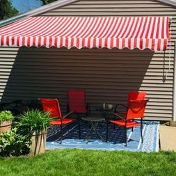 ALEKO Retractable Patio Awning 12 X 10 Ft Deck Sunshade Red