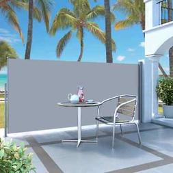 "vidaXL Retractable Side Awning 47.2""x118.1"" Gray Privacy Scr"