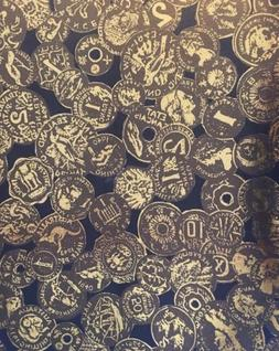 Vintage Awning or Upholstery Fabric Metallic World Coins Ext